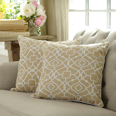 Taupe Floral Gate Pillows, Set of 2