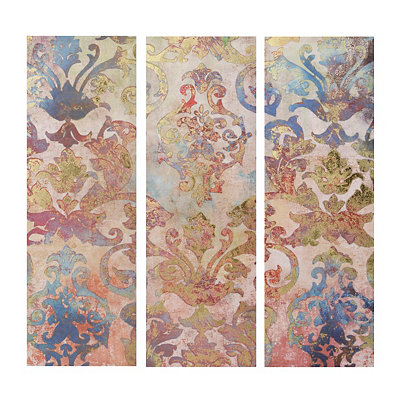 Golden Floral Canvas Art Prints, Set of 3