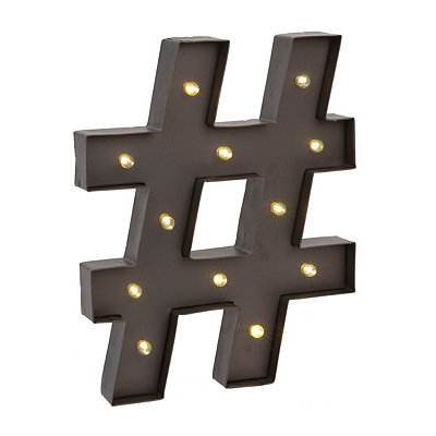 Hashtag LED Metal Plaque