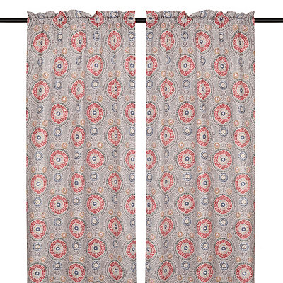 Gray Tamariz Curtain Panel Set, 96 in.