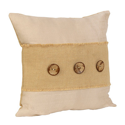 Wheat Linen and Burlap Button Pillow