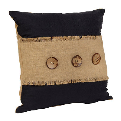 Black Linen and Burlap Button Pillow