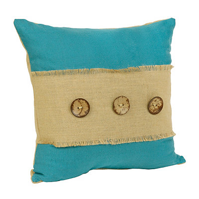 Teal Linen and Burlap Button Pillow