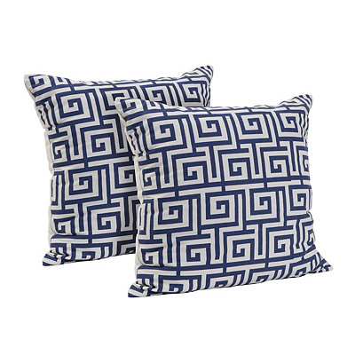Navy Greek Key Pillow, Set of 2
