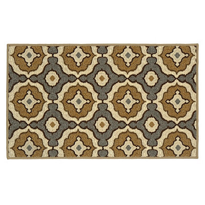 Tan and Aqua Medallion Carlisle Scatter Rug