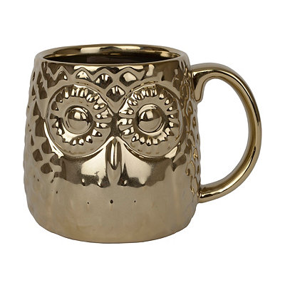 Metallic Gold Owl Mug