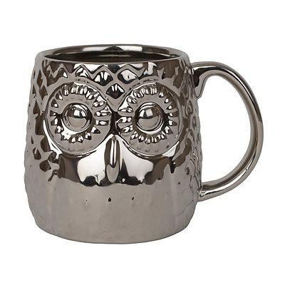 Metallic Silver Owl Mug