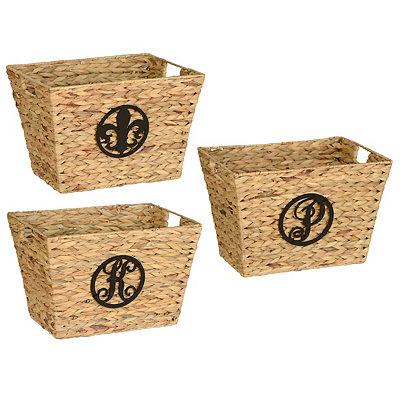 Braided Rattan Monogram Baskets