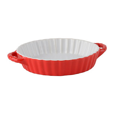 Red Scalloped Quiche Baking Dish