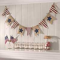 Star Spangled Burlap Pennant Banner