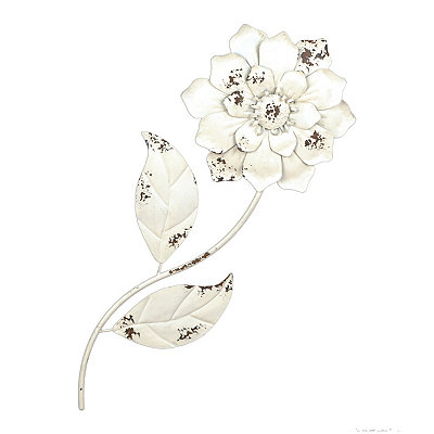 Distressed White Metal Flower