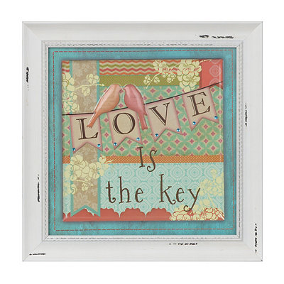 Patchwork Love is the Key Framed Art Print