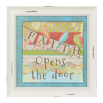 Patchwork Faith Opens the Door Framed Art Print