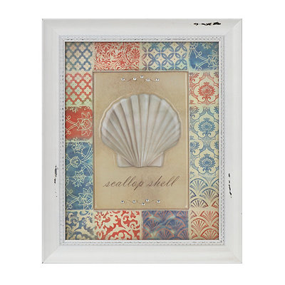 Patchwork Scallop Shell Framed Art Print