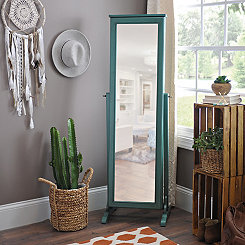 Antique Teal Cheval Armoire Mirror