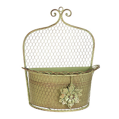 Antique Green Chicken Wire Wall Planter
