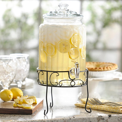 Ribbed Glass Beverage Dispenser