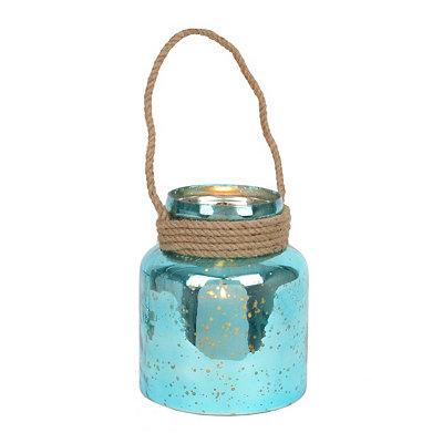 Turquoise Mercury Glass Rope Lantern