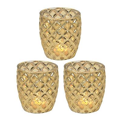 Metallic Gold Votive Candle Holder, Set of 3