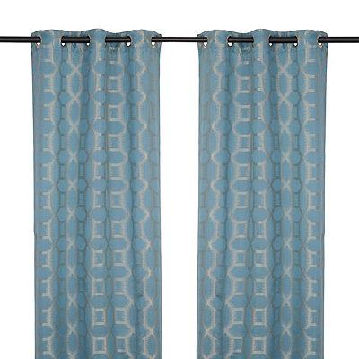Jaffa Blue Geometric Curtain Panel Set, 84 in.