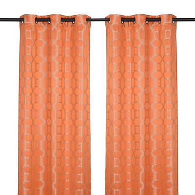 Jaffa Orange Geometric Curtain Panel Set, 84 in.