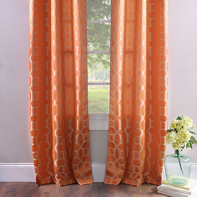 Jaffa Orange Geometric Curtain Panel Set, 84 in.