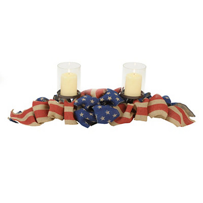 Stars and Stripes Burlap Ribbon Centerpiece