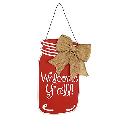 Red Welcome Y'all Mason Jar Wooden Plaque