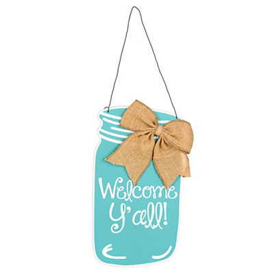 Aqua Welcome Y'all Mason Jar Wooden Plaque