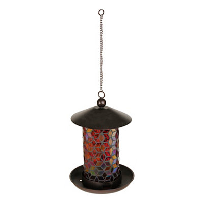 Red Mosaic Glass Hanging Bird Feeder