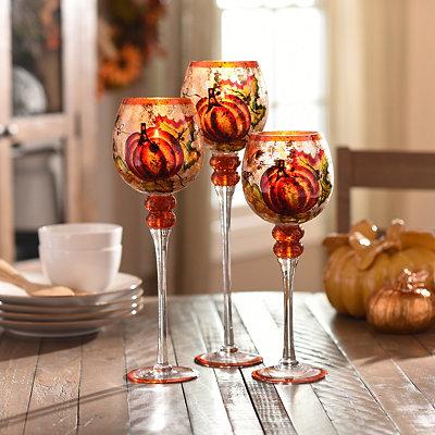 Harvest Pumpkin Glass Charismas, Set of 3
