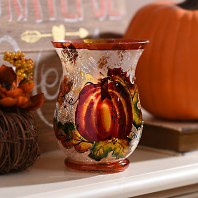 Harvest Pumpkin Crackled Glass Hurricane