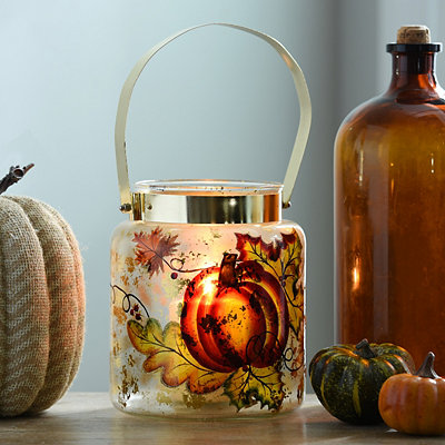 Harvest Pumpkin Glass Lantern