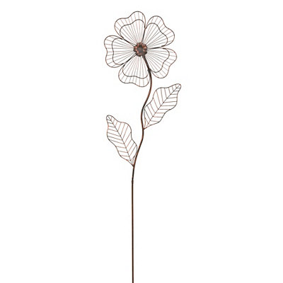 Oversized Bronze Flower Yard Stake