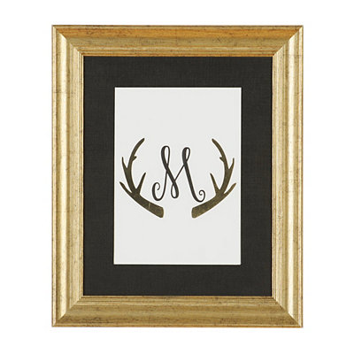 Gold Antler Monogram M Framed Art Print