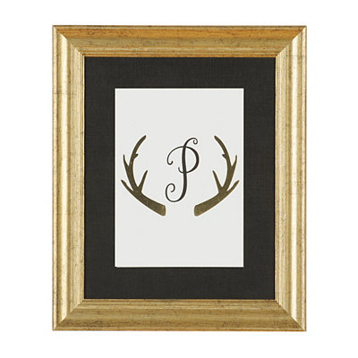Gold Antler Monogram P Framed Art Print