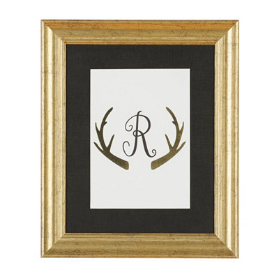Gold Antler Monogram R Framed Art Print