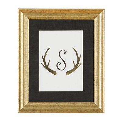 Gold Antler Monogram S Framed Art Print