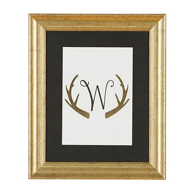 Gold Antler Monogram W Framed Art Print