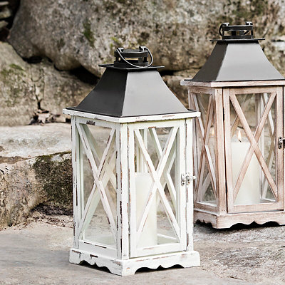 Distressed Cream Lantern