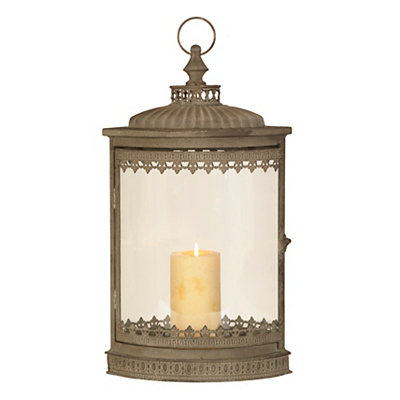 Distressed Gray Oval Lantern