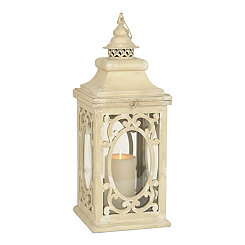 Distressed Cream Curls Lantern