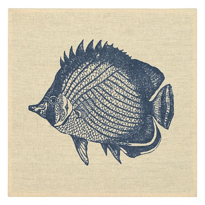 Navy Fish Linen Plaque