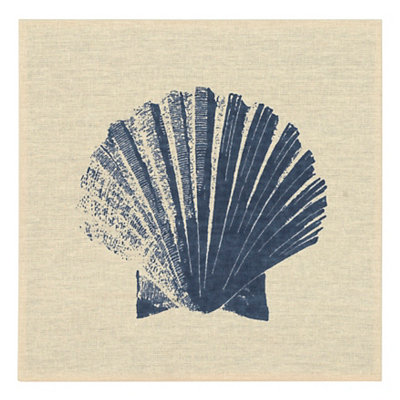 Navy Seashell Linen Plaque