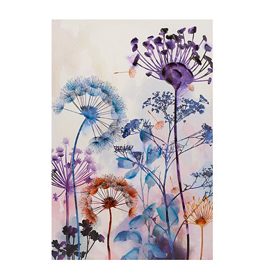 Blue and Purple Floral Canvas Art Print