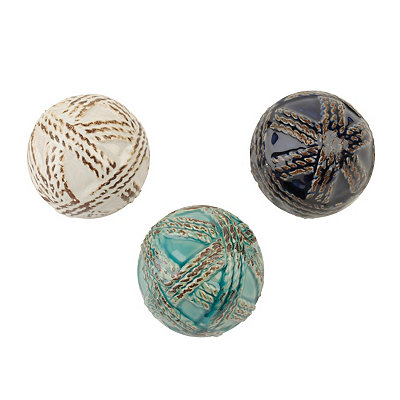 Ceramic Twisted Rope Orbs, Set of 3