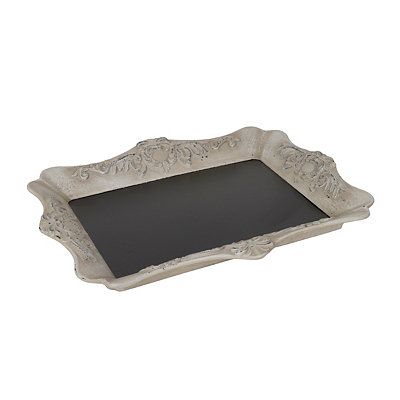 White Vintage Chalkboard Decorative Tray