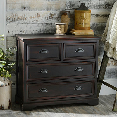 Espresso Farmhouse 4-Drawer Storage Chest