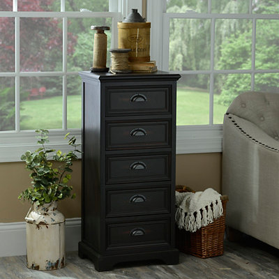 Espresso Farmhouse 5-Drawer Storage Chest