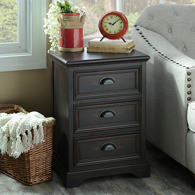 Espresso Farmhouse 3-Drawer Side Table